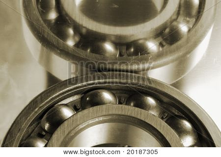 close-up of ball-bearings in oldish look