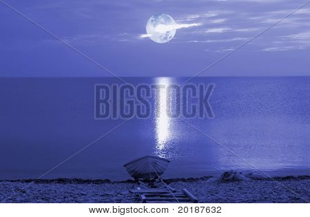 moonshine over water and beach, night-time