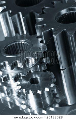 gear-machinery at close-up, in a duplex dark metallic blue tone