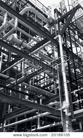 pipeline menagerie inside refinery and in a metallic bluish toning idea