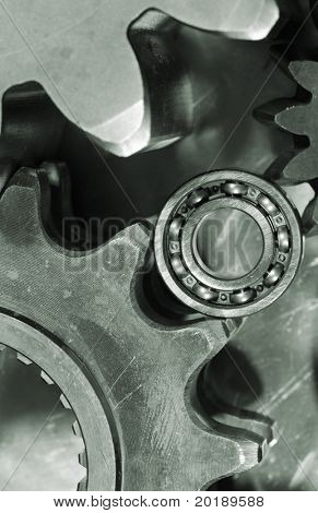 gears and small bearing close-ups, in a greenish toning idea