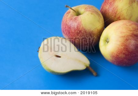 Half Pear And Apples