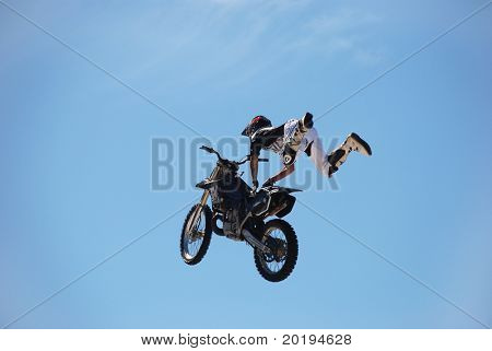 RIO DE JANEIRO - FEB 14: An unidentified contestant competes in the Brazil Cup of Freestyle Motocross MX Barra da Tijuca Carnaval on February 14, 2010 in Rio de Janeiro.