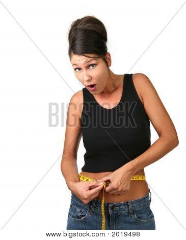Surprised Woman Loosing Weight