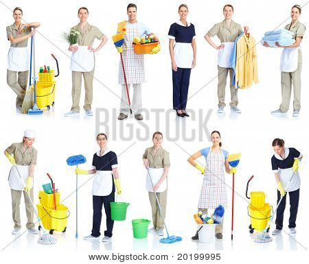 Housemaid cleaner in uniform. Isolated over white background
