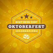 Beer Festival Oktoberfest Celebrations. Vintage Beer Badge On The Golden Beer Abstract Background. V poster