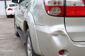 Vehicle Car Bumper Dent And Taillight Broken Collision Crash Damage Accident On Road poster
