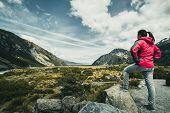 Woman Traveller Traveling In Wilderness Landscape poster