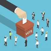 Isometric Businessman Hand Put Voting Paper In The Ballot Box. poster