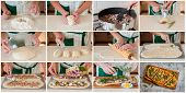A Step By Step Collage Of Making Blue Cheese Pork Pizza poster