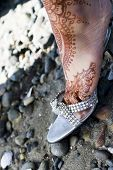 image of rajasthani  - henna of brides foot detail - JPG