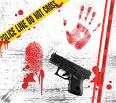 picture of crime scene  - Crime Scene Elements in Grunge Style - JPG