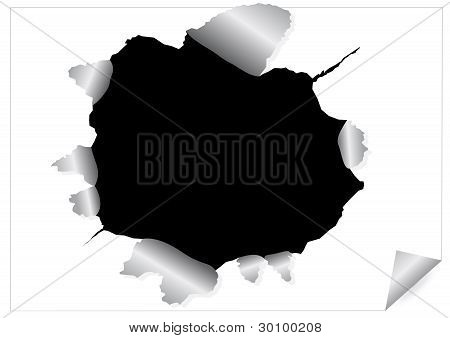 Paper Sheet With Black Ragged Hole