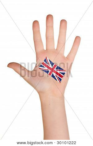 The British flag painted on the palm.