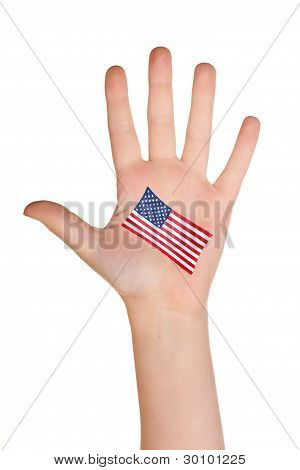 The USA flag painted on the palm.