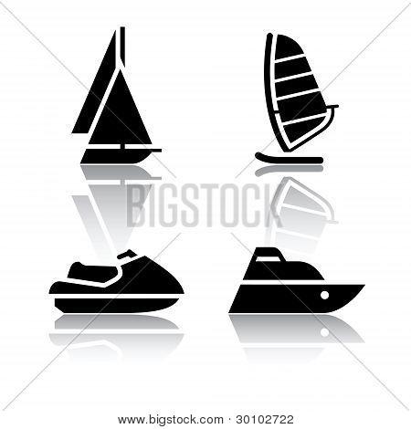 Set of transport icons - boat and sailfish symbols