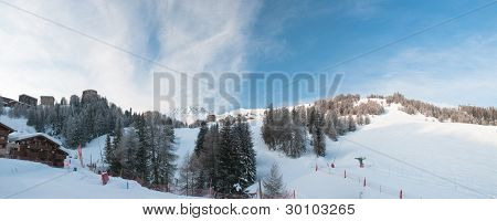 Morning Panorama Of La Plagne 1800 (france) Mountains