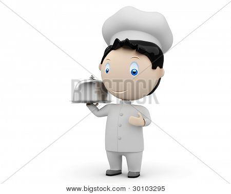 Bon appetit! Social 3D characters: happy smiling cook in uniform with tray and metal cloche lid cover. Concept for cooking dish illustration. People at work collection. Isolated.