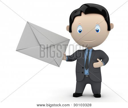 You have new email message. Social 3D characters: businessman holds mail envelope. New constantly growing collection of expressive multiuse people images. Concept for e-mail illustration. Isolated.