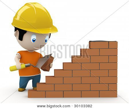 Under construction! Social 3D characters: man using trowel to place the brick. New constantly growing collection of expressive people images. Concept for construction process illustration. Isolated.