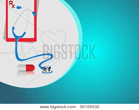 vector illustration with medical background having heart beat, red pills ,stethoscope and diagnostic letter on blue.