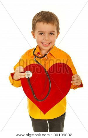 Happy Future Doctor Examine Heart