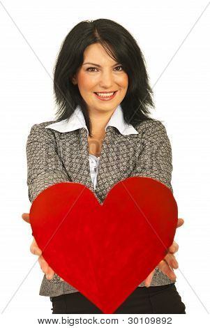 Business Woman Offering Heart