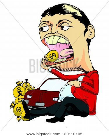 hand draw of rich man eating money