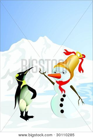 Pinguin And Snowman