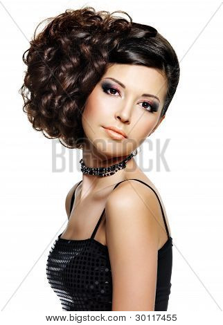 Beautiful Woman With Hairstyle And Makeup