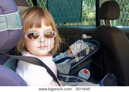 Kid In A Safety Car Seat