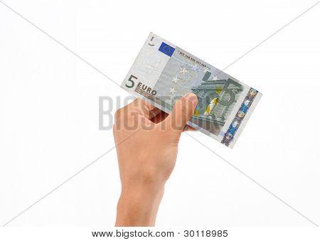 Hand Holding 5 Euro Bill