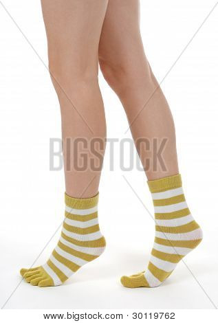 Elegant Female Legs In Striped Socks
