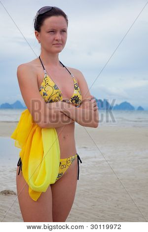 Young Beautiful Woman On The Shore
