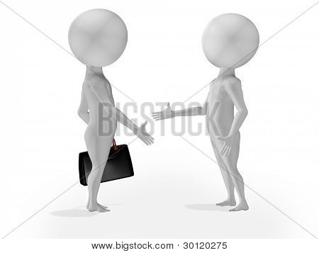 3d little people business deal, handshake