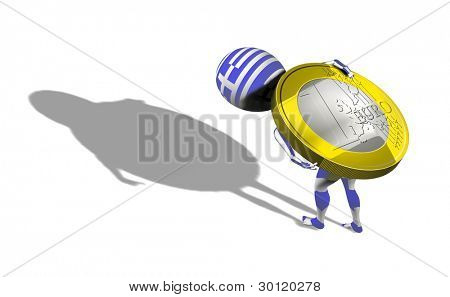 A little 3d guy in Greece flag carrying 1 euro coin on his back. Conceptual