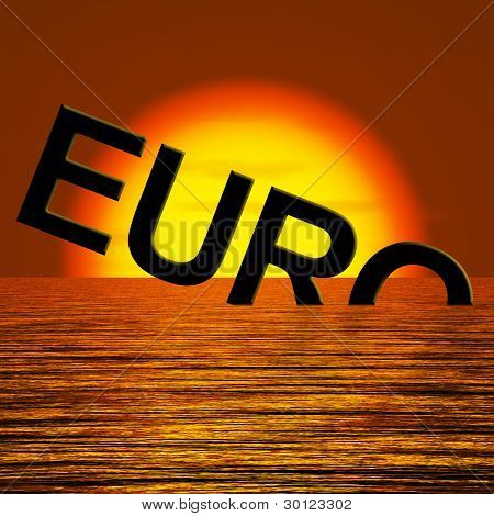 Euro Word Sinking And Sunset Showing Depression Recession And Ec