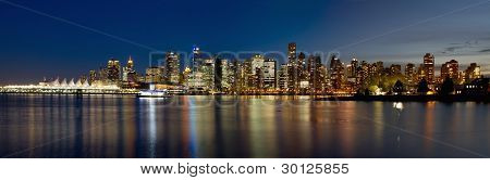 Vancouver Bc Skyline From Stanley Park During Blue Hour