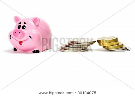 Pink Pig Moneybox And Money