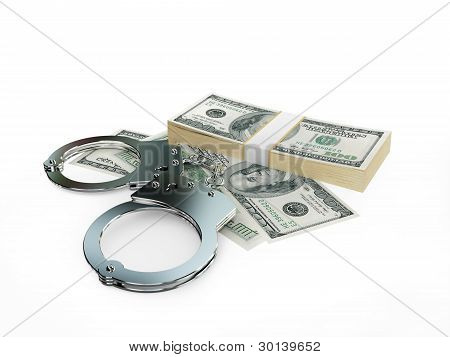 Handcuff and dollars pack