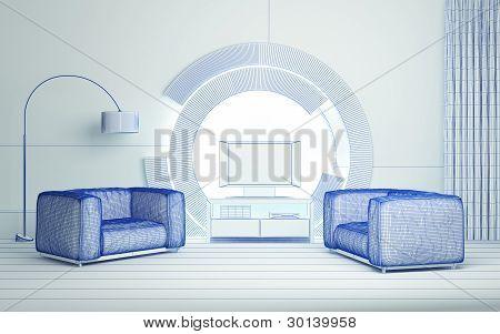 Moderno interior 3d