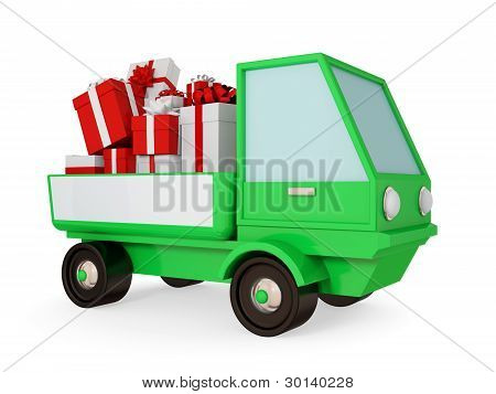 Green truck with bright gift boxes at a body.