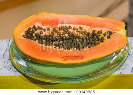 Sliced Of Half Papaya