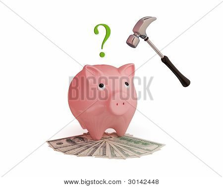 Pink piggy bank, hammer,money and question sign.