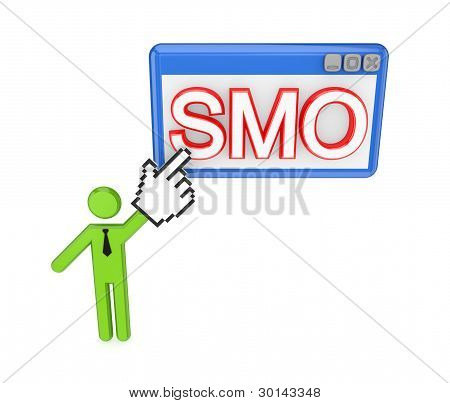 3d small person pointing on a PC window