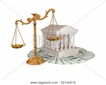 Court, dollars and vintage golden scales.