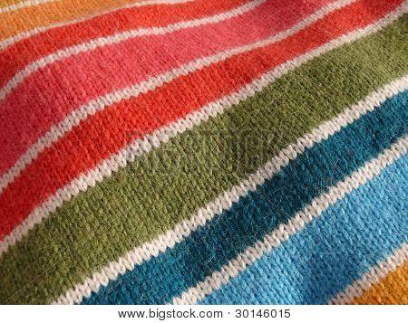 Colorful stripy mohair textile close up