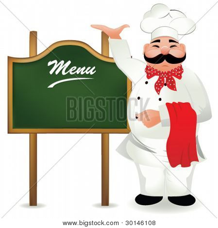 chef with board for menu