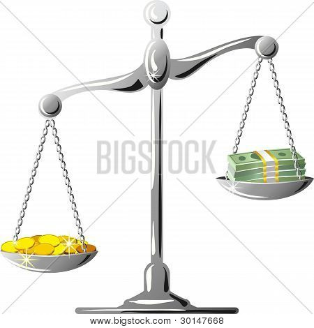 Vector Unbalanced Silver Scale With Coines And Banknotes