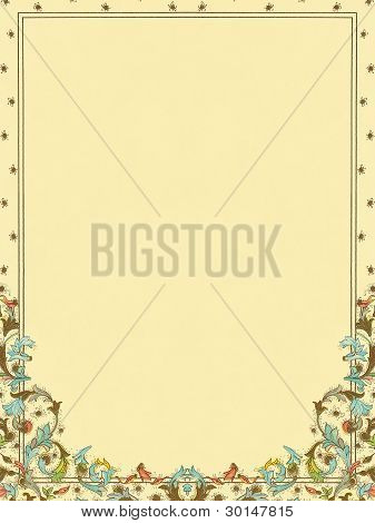 Floral, colorful ornamented paper